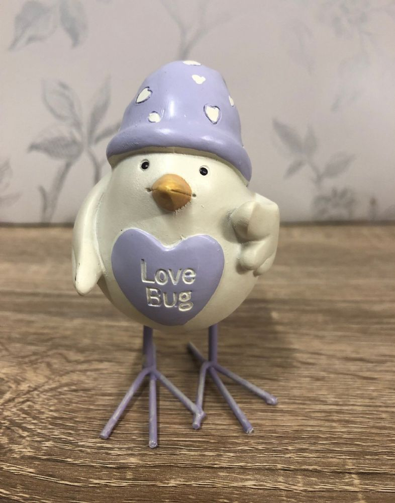 Love Bug ~ Shabby Chic Lilac & Cream Cute Heart Bird
